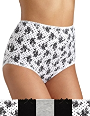 5 Pack Cotton Rich Floral Clustered Full Briefs
