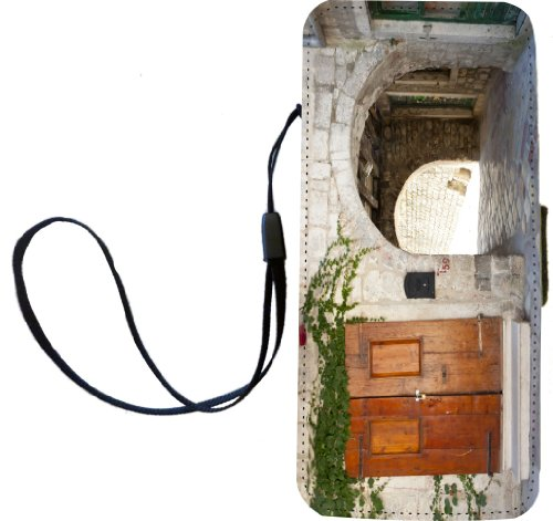 Rikki Knighttm Old Arched Gate And Wooden Door On Cobblestone Pu Leather Wallet Type Flip Case With Magnetic Flap And Wristlet For Apple Iphone 5 &5S front-634910