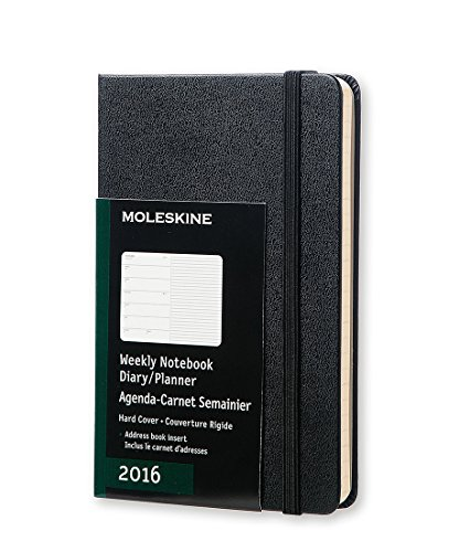 Moleskine 2016 Weekly Notebook, 12M, Pocket, Black, Hard Cover (3.5 x 5.5)