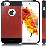 JETech® Gold Super Fit iPhone 5/5S Case for Apple iPhone 5 5S Logo Cut-Out (TPU-Brown)