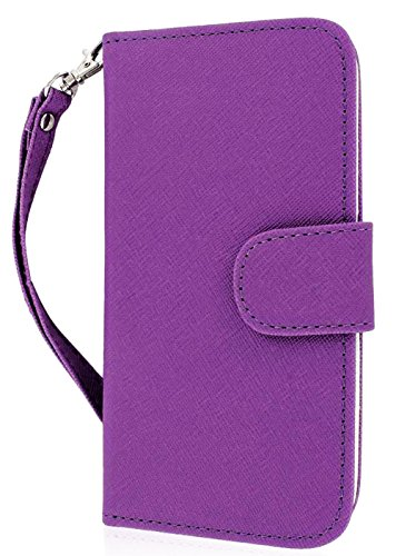 Mylife Purple And White {Classic Fashion Design} Faux Leather (Card, Cash And Id Holder + Magnetic Closing) Slim Wallet For The All-New Htc One M8 Android Smartphone - Aka, 2Nd Gen Htc One (External Textured Synthetic Leather With Magnetic Clip + Internal