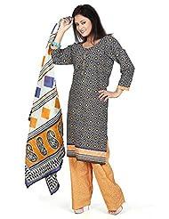 Utsav Fashion Women's Black Cotton Readymade Kameez With Trouser Pant-Medium