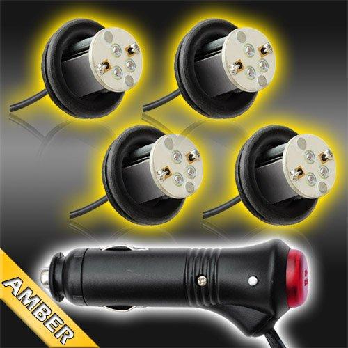Amber 4Pc 4Watt High Power Led Emergency Strobe Flash Light Kit 20 Flash Modes With Memory Function -Universal 12V
