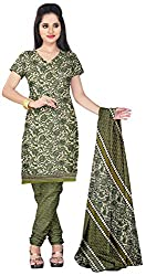 Prafful Women's Crepe Unstitched Dress Material (Cream and Mehndi)
