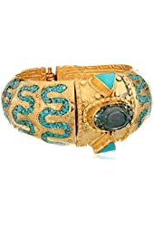 "Devon Leigh ""Ethnic and Tribal"" Intricate Turquoise and Gold Cuff Bracelet"