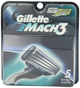 Gillete Mach 3 Razor Replacement Cartridges, 5 Count