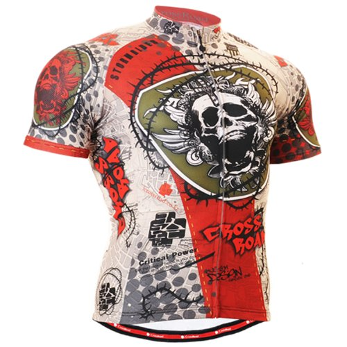 Buy Low Price Fixgear Mens Skull printed Cycling clothes top jersey shirt short sleeve (B008S8HIB0)