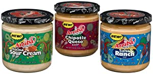 Arriba Party Dips Variety Pack Chipotle Con Queso Salsa Ranch Salsa Sour Cream 16-ounce Jars Pack Of 3 by Arriba!