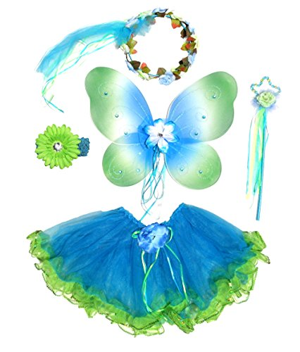 Girls Blue and Green 5 Pc Fairy Costume with Rose Buds, Halo, Wand & Headband