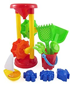 Double Sand Wheel Beach Toy Set for Kids with Bucket, Shovels, Rakes, Sailboat & 3 Shape Molds by Sandbox Sand