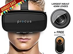 Procus ONE Virtual Reality Headset - 42MM Lenses- Fully Adjustable VR Glasses - VR Headset For VR Video Gaming, Movies, Pictures - Compatible With All 3.5