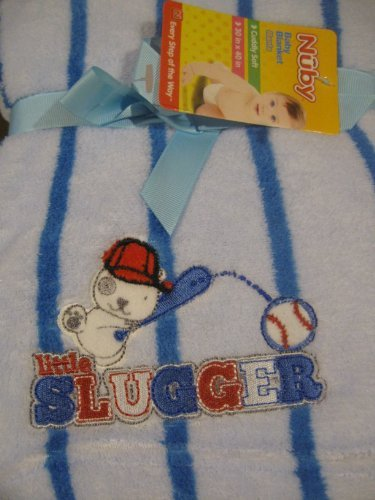 "Baby Boy ""Little Slugger"" Soft Baby Blanket"