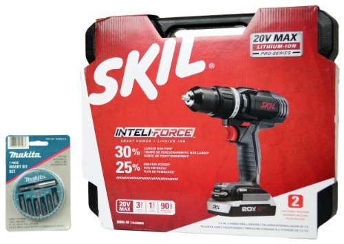 Best Buy! Skil 2899LI-04 20V Max Lithium Ion Pro-Series Cordless Drill Kit with Free Makita Bit Kit