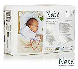 Naty by Nature Babycare Newborn Size 1 (4-11 lbs/2-5 kg) Nappies - 4 x Packs of 26 (104 Nappies)