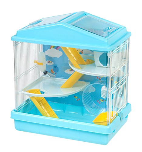 IRIS USA Hamster and Gerbil Pet Cage, 3-Tier, Blue 51DY9B2ISKL