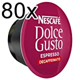 Nescafé Dolce Gusto Espresso 80 x Decaffeinato, Decaffeinated, Coffee Maker, Coffee Pod, BIG A Pack, 80 Capsules