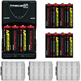 (12) Precision Design (4 Pack) 2900mAh AA NiMH Rechargeable Batteries & Charger + Battery Cases For Canon Powershot Nikon Coolpix Sony CyberShot Casio Kodak Fuji Panasonic Pentax & Olympus Digital Cameras Speedlight Flash Battery Grip & Photo