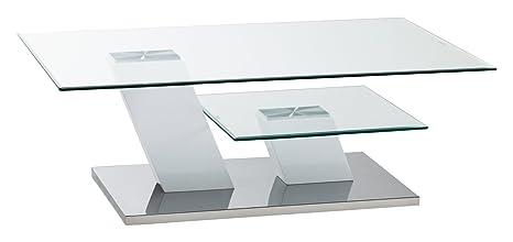Cavadore Couchtisch Milton / Glastisch mit viel Stauraum / 115x75x40 cm (LxBxH)