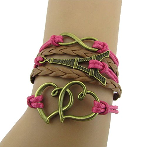 Toopoot(Tm) Diy Multilayer Infinity Love Eiffel Tower Leather Bracelet Bangle Chain
