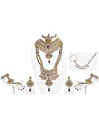 Designer Purple Green Stone Patwa Wedding Bridal Jewellery Set