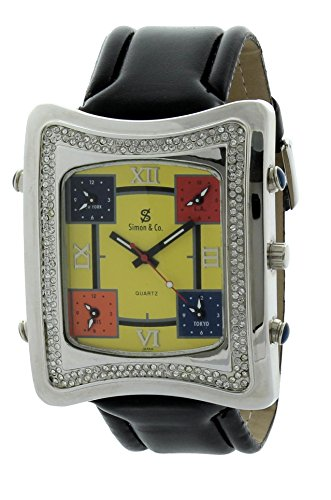 simon-co-mens-silver-color-iced-out-watch-bling-watch-yellow-dial-on-black-stap-with-5-time-zone-ice