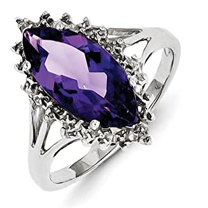 IceCarats Designer Jewelry Size 6 Sterling Silver Rhodium Amethyst Diamond Ring