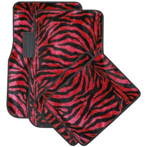 Oxgord Front & Back Seat Zebra/Tiger Stripe Carpet Mats For For Car/Truck/Van/Suv, Red & Black front-971811