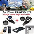 iPhone 5 Fisheye Lens+ Wide-Angle Macro Camera Lens Kit, Clip-On Quick Connect Designed for iPhone 5 / iPhone 4 / iPhone 4S / iPad 2 / iPad 3 / new iPad 4 (with Retina display) (Fisheye + Wide Angle Macro)