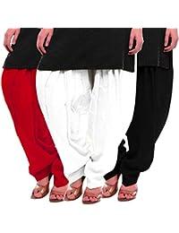 Women's Red White-Black Cotton Patiala Salwar