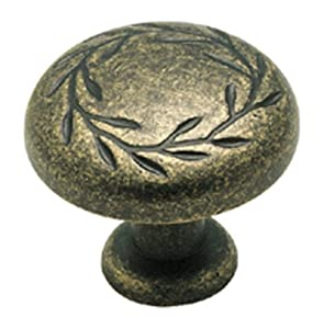 Amerock BP1581R2 Inspirations Leaf Knob, Weathered Brass, 1-1/4-Inch Diameter
