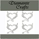 4 x 32mm Clear Diamante Devil Hearts Self Adhesive Craft Rhinestone Embellisment Gems - created exclusively for Diamante Crafts