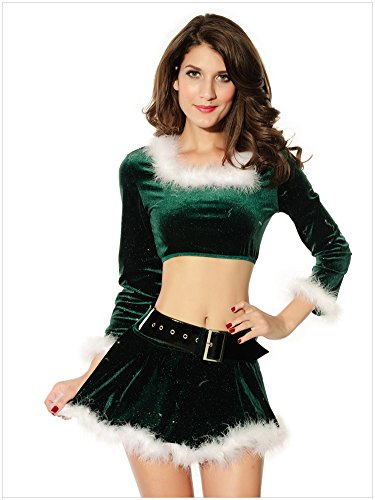 QinYing Long Sleeve Sexy Bikini Top Mini Skirt Set Party Dance Wear Costumes