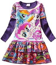 FOTTON Pretty Girls Spring Autumn My Little Pony Birthday Party Dress