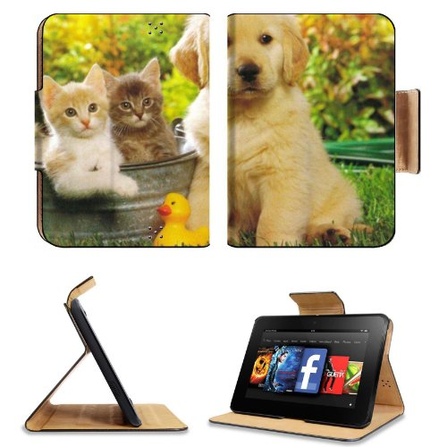 Kitten Puppy Friends Outside Play Time Amazon Kindle Fire Hd 7 [Previous Generation 2012] Flip Case Stand Magnetic Cover Open Ports Customized Made To Order Support Ready Premium Deluxe Pu Leather 7 11/16 Inch (195Mm) X 5 11/16 Inch (145Mm) X 11/16 Inch (