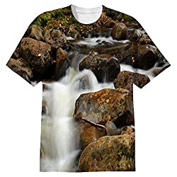 Snoogg White Water And Brown Stone Mens Casual All Over Printed T Shirts Tees