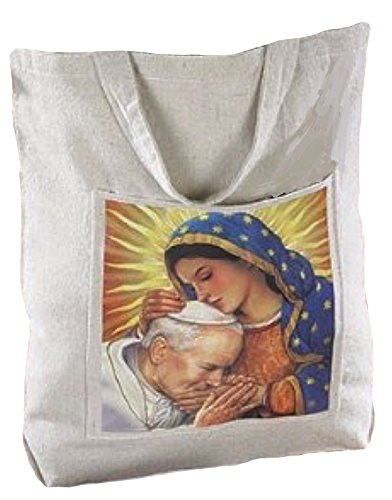 Our Lady of Guadalupe Blessed Pope John Paul II Devotional Religious Women's Hand Tote Bag