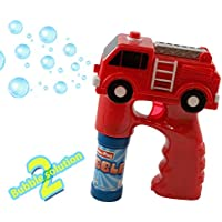 Kidsthrill Fire Truck Bubble Shooter Gun With Sirens And Music - 2 Bubble Solution Included