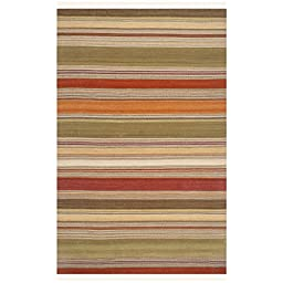 Safavieh Striped Kilim Collection STK317A Hand Woven Green Wool Area Rug, 8 feet by 10 feet (8\' x 10\')