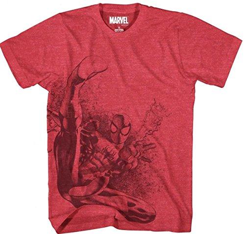 Spiderman Flip Spinner Mens Red Heather T-shirt XXL