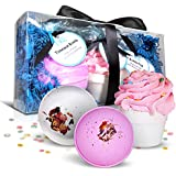 Bath Bombs Set - Large 6 oz Fizzies With Shea Butter & Essential Oil Soaps - Natural Lush Ingredients - Plus A Cupcake Bomb With An Exfoliator Makes These Dry Skin Moisturizer Spa Balls A Great Gift