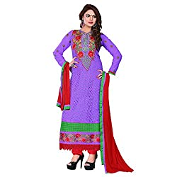M Fab Ethnic Embroidered Light Purple Georgette Free Size Straight Chudidar Party Wear UnStitched Salvar Suit Dress Material