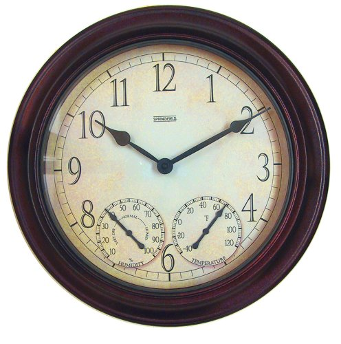 Springfield 91579 14 Inch Outdoor Garden Clock with Thermometer and Hygrometer