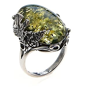 Green Amber and Sterling Silver Large Victorian Ring Sizes 5,6,7,8,9,10,11,12