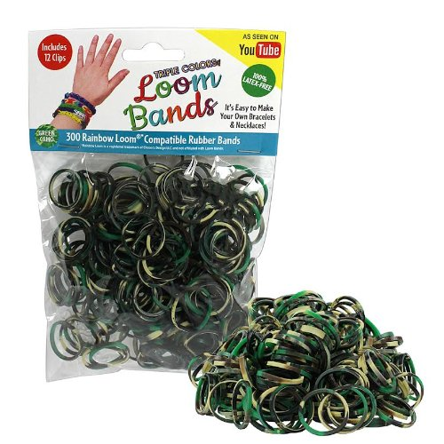 Loom Rubber Bands - 300 Pc Triple Color Rubber Band Refill Pack (Green Camo) - 100% Latex Free and Compatible with All Looms