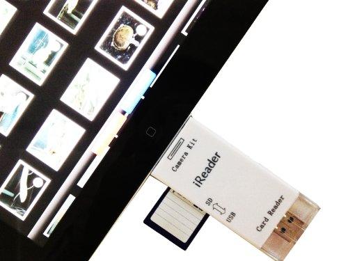iPad/iPad2/iPad3 新しいiPad the new iPad 2in1 カメラコネクションキット USBキーボードの外部接続も可能に♪ 最新iOS6.0.1も対応+usbメモリとしても使用できる