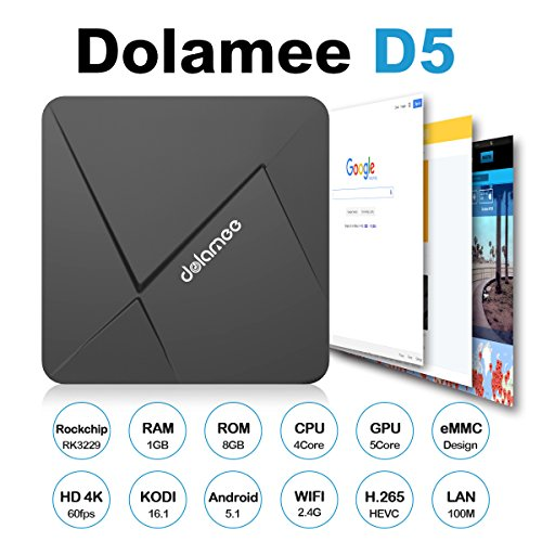 DOLAMEE D5 Android 5.1 TV Box Streaming Media/Movie Player Device [1GB/8GB/4K/H.265/2.4G WiFi] Rockchip RK3229 Quad-core 32Bit with Kodi 16.1 (Android Boxes compare prices)