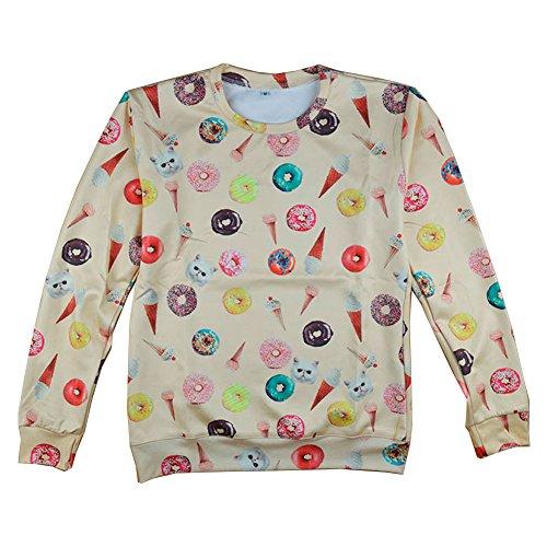Women 3D Donut Sweater Hoodies Unisex Casual Sweatshirts (L)