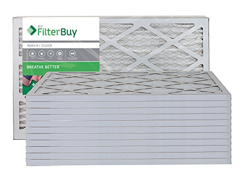 AFB Silver MERV 8 14x20x1 Pleated AC Furnace Air Filter. Pack of 12 Filters. 100% produced in the USA.