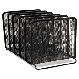 Mesh Stacking Sorter, Five Sections, Metal, 8 1/4 x 14 3/8 x 7 7/8, Black, Sold as 1 Each
