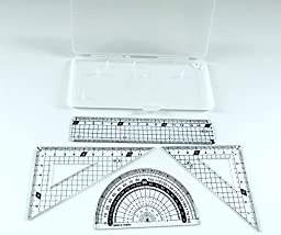 PartyErasers 4 in 1 Protractor and ruler Set - White Transparent Case